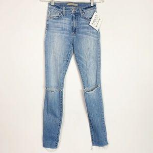Joe's Jean's | hi rise raw hem busted knee jeans